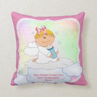 Cojín Decorativo Rosa del ángel de la comunión del bautismo del