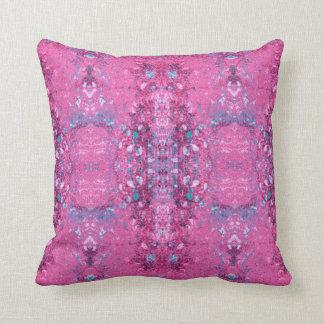 """Cojín Decorativo Rosa del """"enredo"""" y modelo de la turquesa"""