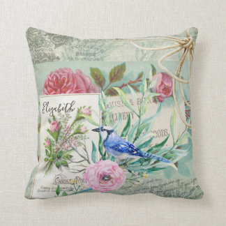 Cojín Decorativo Rosa elegante del vintage del pájaro del arrendajo