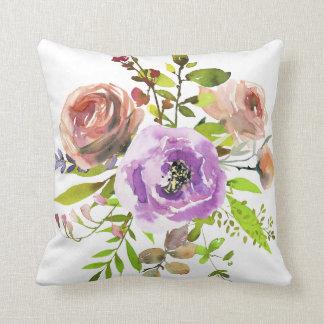 Cojín Decorativo Rosas color de rosa y de la lila polvorientos de