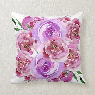 Cojín Decorativo Rosas violetas y púrpuras de la lila de la