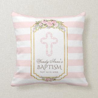 Cojín Decorativo Se ruboriza el monograma floral del bautismo del