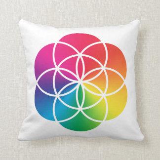 Cojín Decorativo Semilla del arco iris de Chakras del símbolo de la
