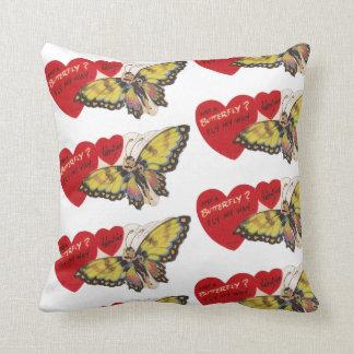 Cojín Decorativo Señora Butterfly Fairy Valentines de los años 40