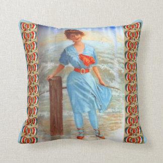 Cojín Decorativo señora del Victorian de los 1890s en la impresión