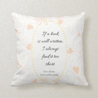Cojín Decorativo Si un libro es cita bien escrita de Jane Austen