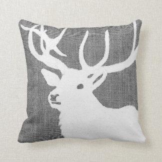 Cojín Decorativo Silueta de un ciervo blanco en un bckgrnd gris
