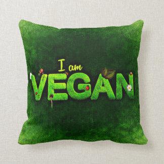 Cojín Decorativo Soy vegano escrito con una textura herbosa de la