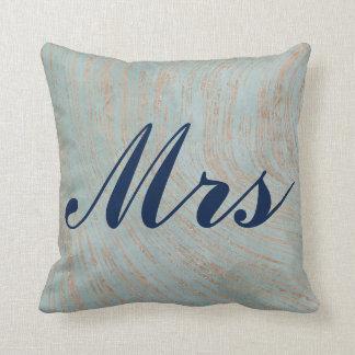 Cojín Decorativo Sr. hermoso y señora de mármol azules y de cobre