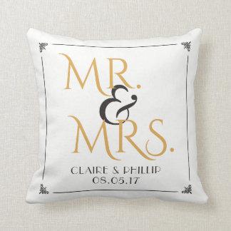 Cojín Decorativo Sr. y señora negros Wedding del blanco el | del
