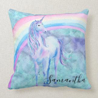 Cojín Decorativo Sueño púrpura del unicornio de la aguamarina