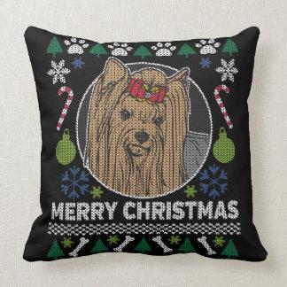 Cojín Decorativo Suéter feo de las Felices Navidad de Yorkshire