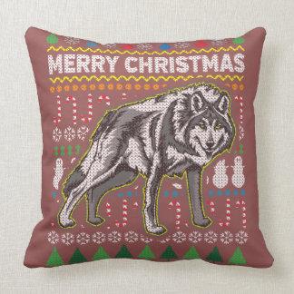 Cojín Decorativo Suéter feo de las Felices Navidad del lobo de la