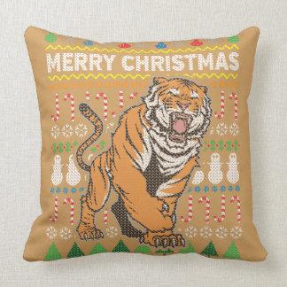 Cojín Decorativo Suéter feo de las Felices Navidad del tigre de la