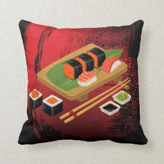 Cojín Decorativo Sushi negro y rojo elegante moderno elegante