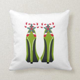 Cojín Decorativo Tacones altos verdes con los bastones de caramelo