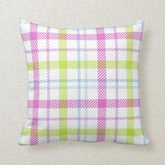 Cojín Decorativo Tartán rosado, azul, verde y blanco