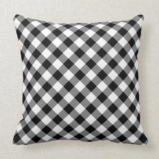 Cojín Decorativo Tela escocesa comprobada blanco y negro diagonal