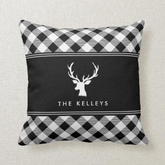 Cojín Decorativo Tela escocesa del búfalo blanca y negro