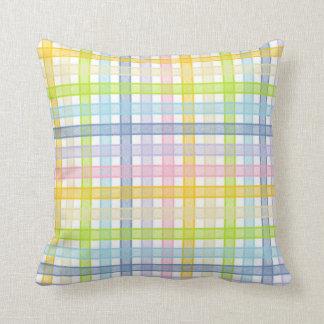 Cojín Decorativo Tela escocesa en colores pastel del arco iris