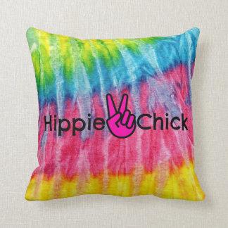 Cojín Decorativo Teñido anudado de la paz del polluelo del Hippie