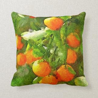 Cojín Decorativo Textura, naranja y verde de la acuarela del ÁRBOL