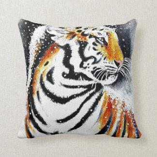 Cojín Decorativo Tigre en la nieve noir