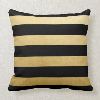 Cojín Decorativo Tiro de moda moderno de las rayas negras del oro