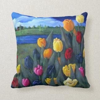 Cojín Decorativo Tulipanes coloridos: Holandés, Holanda: Pintura de