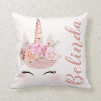 Cojín Decorativo Unicornio color de rosa personalizado del oro