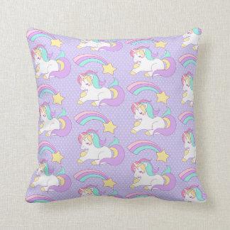 Cojín Decorativo Unicornio lindo el dormir con la estrella fugaz