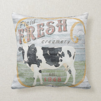 Cojín Decorativo Vaca fresca de la lechería del vintage