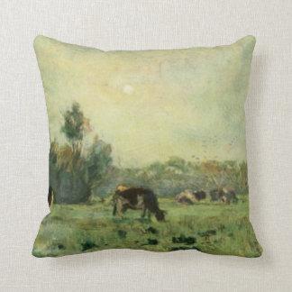 Cojín Decorativo Vacas en ilustraciones del vintage del día soleado
