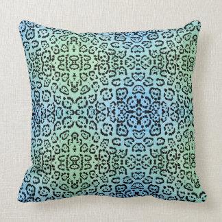 Cojín Decorativo Verde azul del efecto de la pintura del aceite