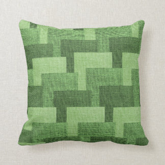 Cojín Decorativo Verde de la arpillera del modelo del bloque falso