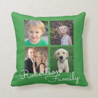 Cojín Decorativo Verde del collage de la familia de cuatro fotos