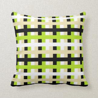 Cojín Decorativo Verde lima, blanco, beige y negro abstractos