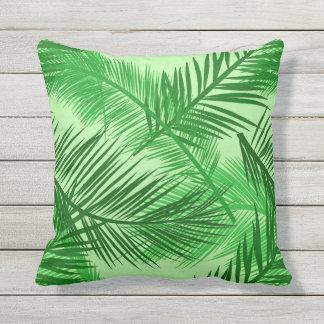 Cojín Decorativo Verde lima de hoja de palma de la impresión, de la