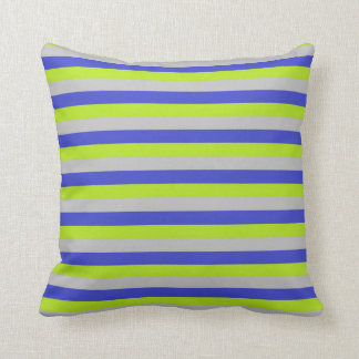Cojín Decorativo Verde lima, plata y rayas azules