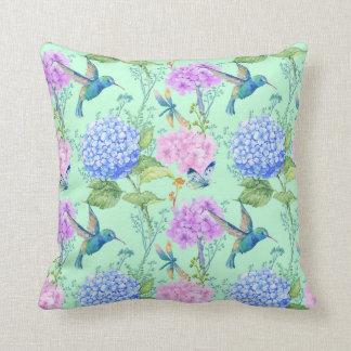 Cojín Decorativo Verde menta del azul de la lavanda del colibrí del