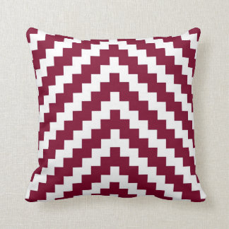 Cojín Decorativo Zigzag azteca en rojo y blanco del arándano