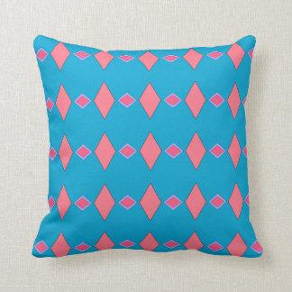 Cojín Decorativo Cojín funda azul céruléen, motivo rombos rosados