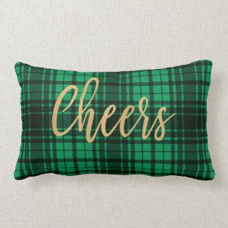 Cojín Lumbar Alegrías verdes de la tela escocesa del día de