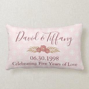 Cojín Lumbar Aniversario de boda 5 años de amor