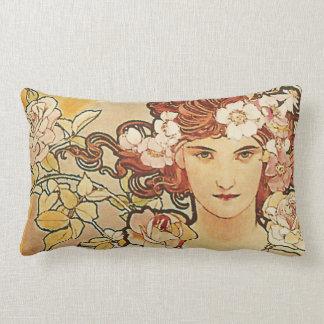 Cojín Lumbar Arte color de rosa Nouveau Alfonso Mucha de las
