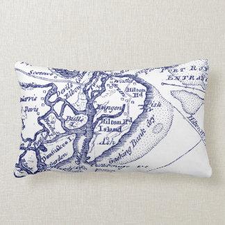 Cojín Lumbar Azules marinos del mapa del vintage del SC de