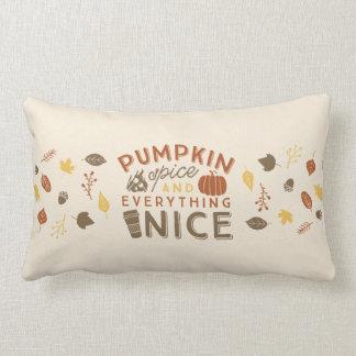 Cojín Lumbar Decoración tipográfica del hogar del otoño de la