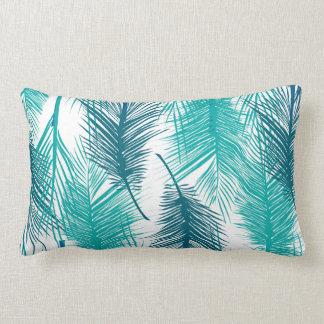 Cojín Lumbar Diseño tropical con las hojas de palma azules
