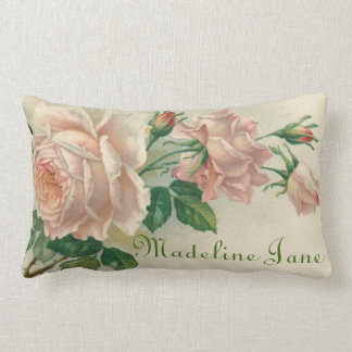 Cojín Lumbar El texto floral color de rosa rosado del nombre