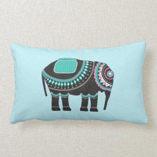 Cojín Lumbar Elefante adornado negro elegante, color de la